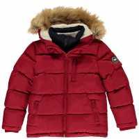 Soulcal Детско Пухено Яке Boys 2 Zip Bubble Jacket Junior Red Детски якета и палта