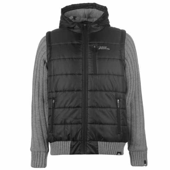 012139d8679 No Fear Мъжко Яке Knitted Sleeve Jacket Mens Black Мъжки якета и палта