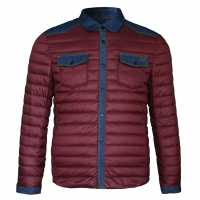 Lee Cooper Мъжко Яке Denim Patch Jacket Mens Burgundy Мъжки якета и палта