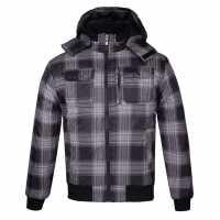 Lee Cooper Подплатено Мъжко Яке Hooded Padded Jacket Mens Black/Check Мъжки якета и палта