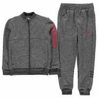 Adidas Poly Tracksuit Junior Girls DkGreyMarl/Pink Детски спортни екипи