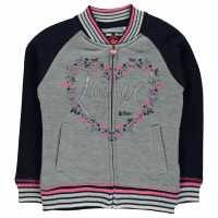 Lee Cooper Яке Момичета Glitzy Baseball Jacket Girls Grey Marl/Navy Детски горнища и пуловери
