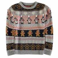 Star Коледен Пуловер За Момичета Christmas Jumper Junior Girls GB Pom Fairisle Коледни пуловери