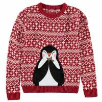 Star Детски Коледен Пуловер За Момичета Xmas Knitted Jumper Junior Girls Red - Penguin Коледни пуловери