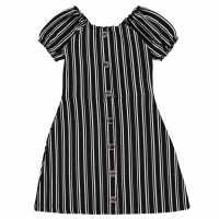 Firetrap Детска Рокля Rib Dress Junior Girls Black Stripe Детски поли и рокли