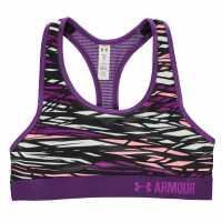 Under Armour Heatgear Armour Printed Sports Bra Girls Purple Дамски спортни сутиени