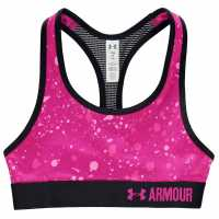 Under Armour Heatgear Armour Printed Sports Bra Girls Black/Pink Дамски спортни сутиени