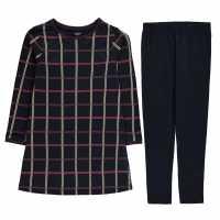 Crafted Средна Рокля Midi Dress Set Navy Check Детски поли и рокли