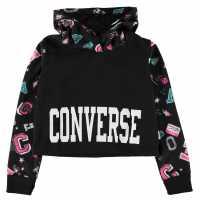 Converse Printed Crop Hoodie Black Детски горнища и пуловери
