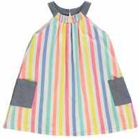 Crafted Рокля За Момиченца Woven Sun Dress Infant Girls Stripe Детски поли и рокли