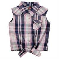 Lee Cooper Детска Риза За Завързване Tie Checked Shirts Junior Girls Dk Pink Check Дамски поли и рокли