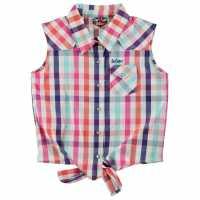 Lee Cooper Детска Риза За Завързване Tie Checked Shirts Junior Girls Lt Pink Check Дамски поли и рокли