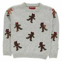 Star Плетен Пуловер Christmas Knit Jumper Junior Girls Grey-G Bread Коледни пуловери