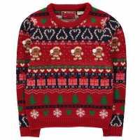 Star Плетен Пуловер Christmas Knit Jumper Junior Girls GB Fairisle Коледни пуловери