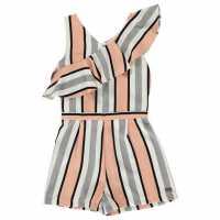 Firetrap Frill Playsuit Junior Girls Rose Stripe Детски къси панталони