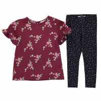 Флорална Рокля Rose And Wilde Floral Dress Burgundy Детски поли и рокли