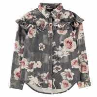 Firetrap Frill Blouse Junior Girls Rose Check Детски ризи