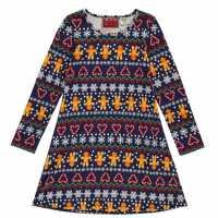 Star Детска Рокля Christmas Jersey Dress Junior Girls  Коледни пуловери