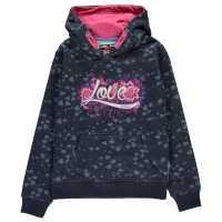 Lee Cooper Printed Hoodie Girls Navy Hearts Детски суитчъри и блузи с качулки