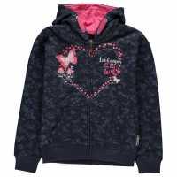 Lee Cooper Суитшърт Малки Момичета Textured Aop Zip Hoody Junior Girls Navy Floral Детски суитчъри и блузи с качулки