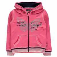 Lee Cooper Glitzy Zipped Hooded Sweater Junior Girls Pink Детски суитчъри и блузи с качулки