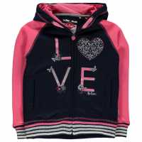 Lee Cooper Glitzy Zipped Hooded Sweater Junior Girls Navy/Pink Детски суитчъри и блузи с качулки