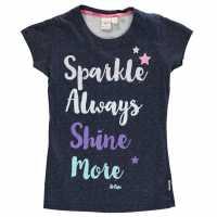 Lee Cooper Тениска Момичета Textured Aop T Shirt Junior Girls Navy Детски тениски и фланелки
