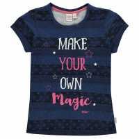 Lee Cooper Тениска Момичета Textured Aop T Shirt Junior Girls Navy Stripe Детски тениски и фланелки