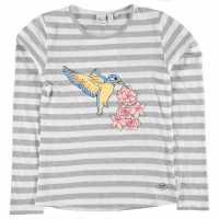 Lee Cooper Тениска Момичета Long Sleeve T Shirt Junior Girls Grey M Strp Детски тениски и фланелки
