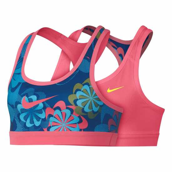 Nike Pro Gr Sports Bra Junior Girls Navy/Pink Дамски спортни сутиени