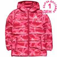 Adidas Яке Момичета Back To School Padded Bubble Jacket Junior Girls Pink-Patern Детски якета и палта