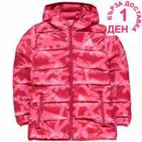 Adidas Яке Момичета Back To School Padded Bubble Jacket Junior Girls Pink-Patern Детски якета и палта