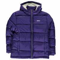 Lee Cooper Пухено Яке Момичета 2 Zip Bubble Jacket Girls Purple Детски якета и палта