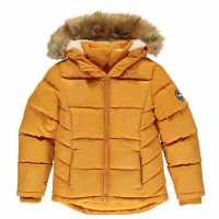 Soulcal Детско Пухено Яке 2 Zip Bubble Jacket Junior Girls Mustard Детски якета и палта