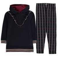 Crafted Fleece Tracksuit Navy Check Детски полар