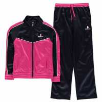 Donnay Poly Tracksuit Junior Girls Ht Pink/Wht/Nvy Детски спортни екипи