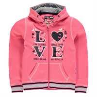 Lee Cooper Суитшърт Малки Момичета Glitzy Zip Hoody Junior Girls Pink Детски суитчъри и блузи с качулки