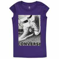 Converse Photograph T-Shirt Junior Girls Court Purple Детски ризи