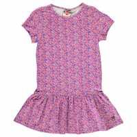 Kids Lee Cooper All Over Print Tunic Dress Junior Girls Purple Ditsy Детски поли и рокли