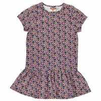 Kids Lee Cooper All Over Print Tunic Dress Junior Girls Navy Ditsy Детски поли и рокли