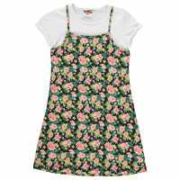 Lee Cooper Cami Tee Dress Junior Girls AOP Tropical Детски поли и рокли