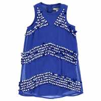 French Connection Рокля С Пайети Stripe Sequin Dress Empire Blue Детски поли и рокли