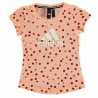 Adidas Тениска Graphic T Shirt Girls Glow Pink/White Детски тениски и фланелки