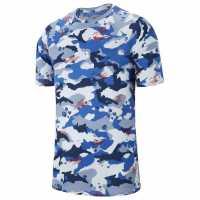 Nike Мъжка Тениска Dry Camo Aop Print T Shirt Mens Blue Мъжки тениски и фланелки