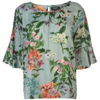 Unknown Blair V Top Ladies Green Floral Дамски тениски и фланелки
