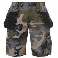 Dunlop Мъжки Къси Работни Панталони On Site Shorts Mens Green Camo Работни панталони