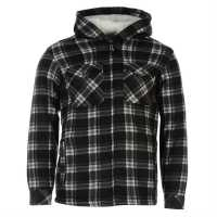 Dunlop Full Zip Checked Hoodie Mens Black Мъжки грейки