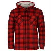 Dunlop Мъжки Суитшърт Full Zip Checked Hoody Mens Red Мъжки суитчъри и блузи с качулки