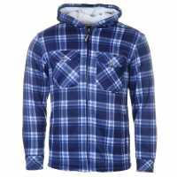 Dunlop Мъжки Суитшърт Full Zip Checked Hoody Mens Navy Мъжки суитчъри и блузи с качулки