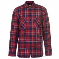 Dunlop Мъжка Риза Flannel Shirt Mens Red/Blue Мъжко облекло за едри хора